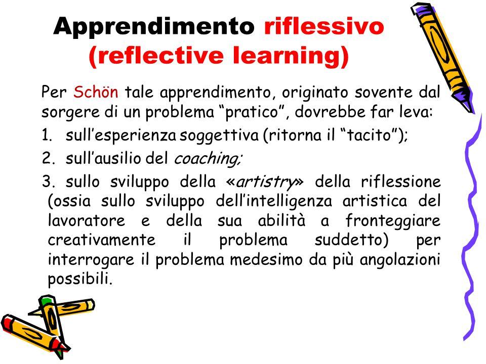 """Apprendimento riflessivo (reflective learning) Per Schön tale apprendimento, originato sovente dal sorgere di un problema """"pratico"""", dovrebbe far leva"""