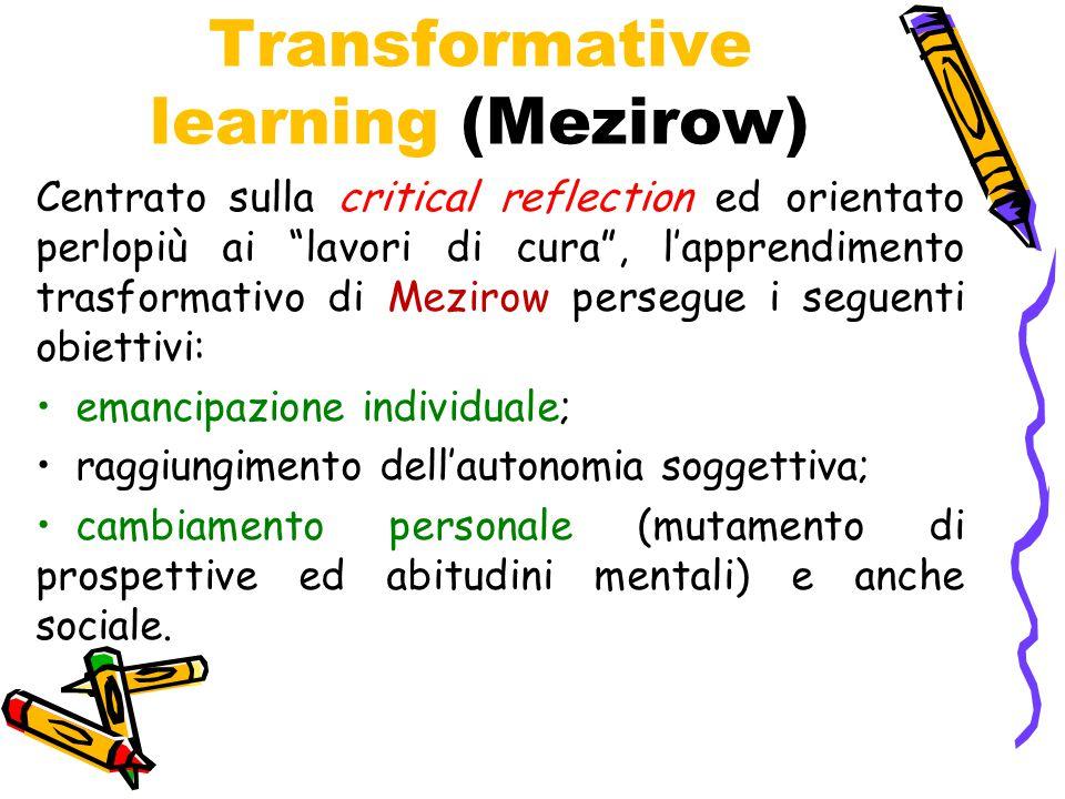 """Transformative learning (Mezirow) Centrato sulla critical reflection ed orientato perlopiù ai """"lavori di cura"""", l'apprendimento trasformativo di Mezir"""