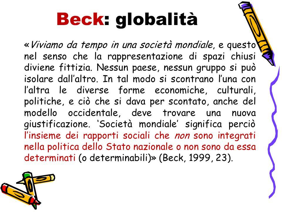 Beck: globalità «Viviamo da tempo in una società mondiale, e questo nel senso che la rappresentazione di spazi chiusi diviene fittizia. Nessun paese,
