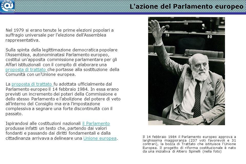 L azione del Parlamento europeo Nel 1979 si erano tenute le prime elezioni popolari a suffragio universale per l elezione dell Assemblea rappresentativa.