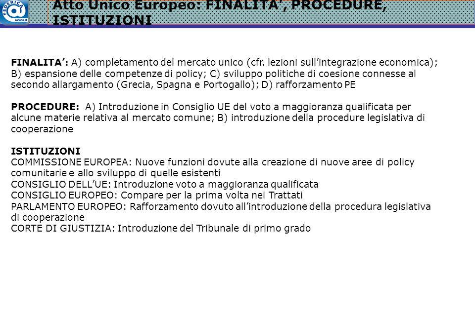 Atto Unico Europeo: FINALITA', PROCEDURE, ISTITUZIONI FINALITA': A) completamento del mercato unico (cfr.