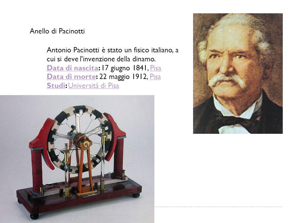 Anello di Pacinotti Antonio Pacinotti è stato un fisico italiano, a cui si deve l'invenzione della dinamo. Data di nascitaData di nascita: 17 giugno 1