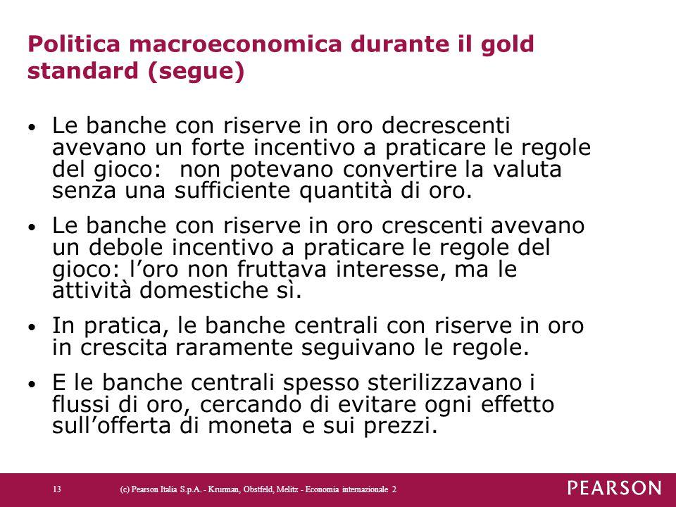 Politica macroeconomica durante il gold standard (segue) Le banche con riserve in oro decrescenti avevano un forte incentivo a praticare le regole del