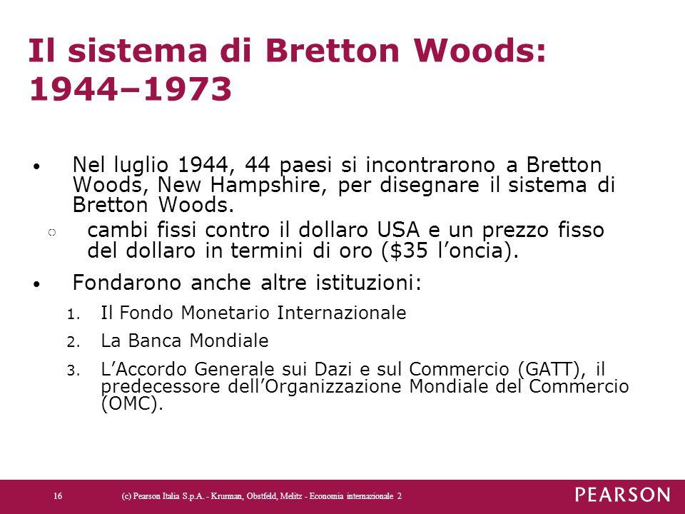 Il sistema di Bretton Woods: 1944–1973 Nel luglio 1944, 44 paesi si incontrarono a Bretton Woods, New Hampshire, per disegnare il sistema di Bretton W