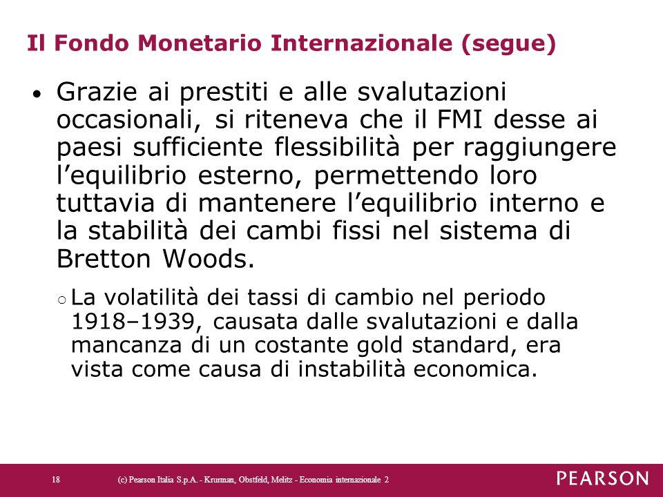 Il Fondo Monetario Internazionale (segue) Grazie ai prestiti e alle svalutazioni occasionali, si riteneva che il FMI desse ai paesi sufficiente flessi