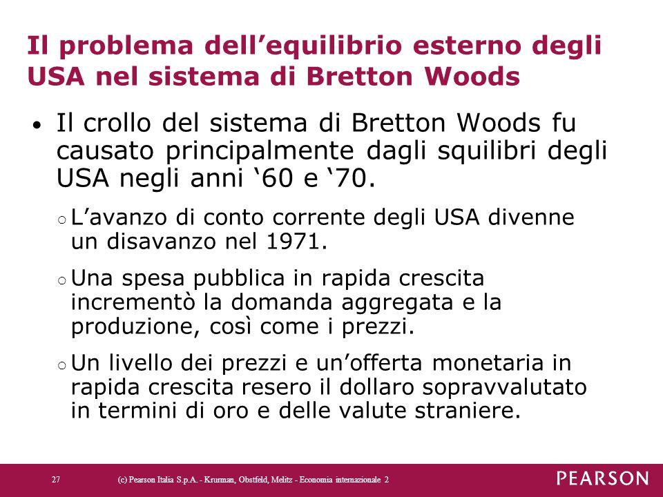 Il problema dell'equilibrio esterno degli USA nel sistema di Bretton Woods Il crollo del sistema di Bretton Woods fu causato principalmente dagli squi