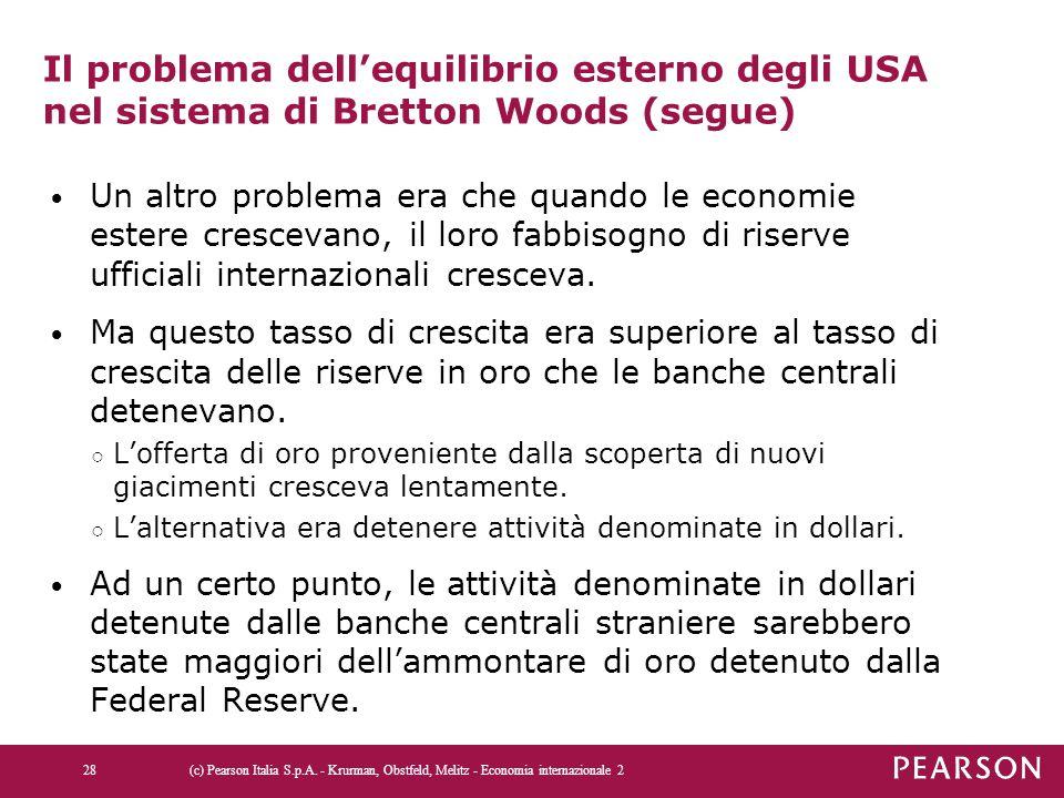 Il problema dell'equilibrio esterno degli USA nel sistema di Bretton Woods (segue) Un altro problema era che quando le economie estere crescevano, il