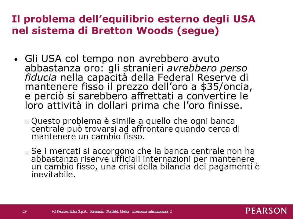 Il problema dell'equilibrio esterno degli USA nel sistema di Bretton Woods (segue) Gli USA col tempo non avrebbero avuto abbastanza oro: gli stranieri