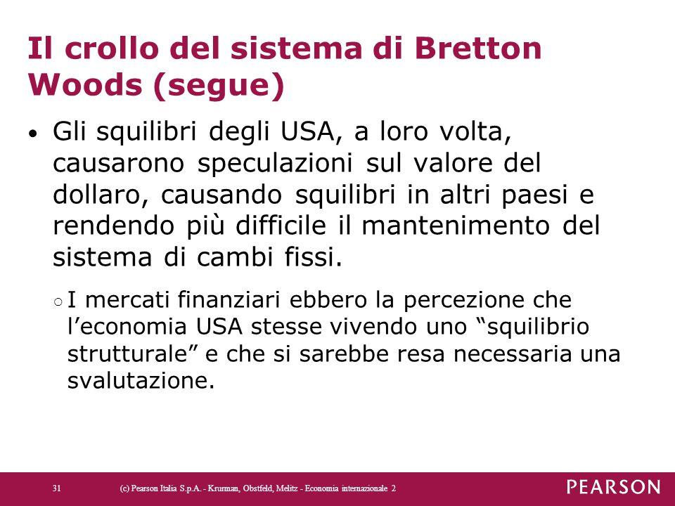 Il crollo del sistema di Bretton Woods (segue) Gli squilibri degli USA, a loro volta, causarono speculazioni sul valore del dollaro, causando squilibr
