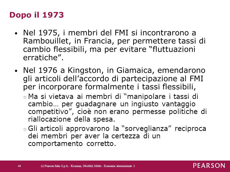 """Dopo il 1973 Nel 1975, i membri del FMI si incontrarono a Rambouillet, in Francia, per permettere tassi di cambio flessibili, ma per evitare """"fluttuaz"""