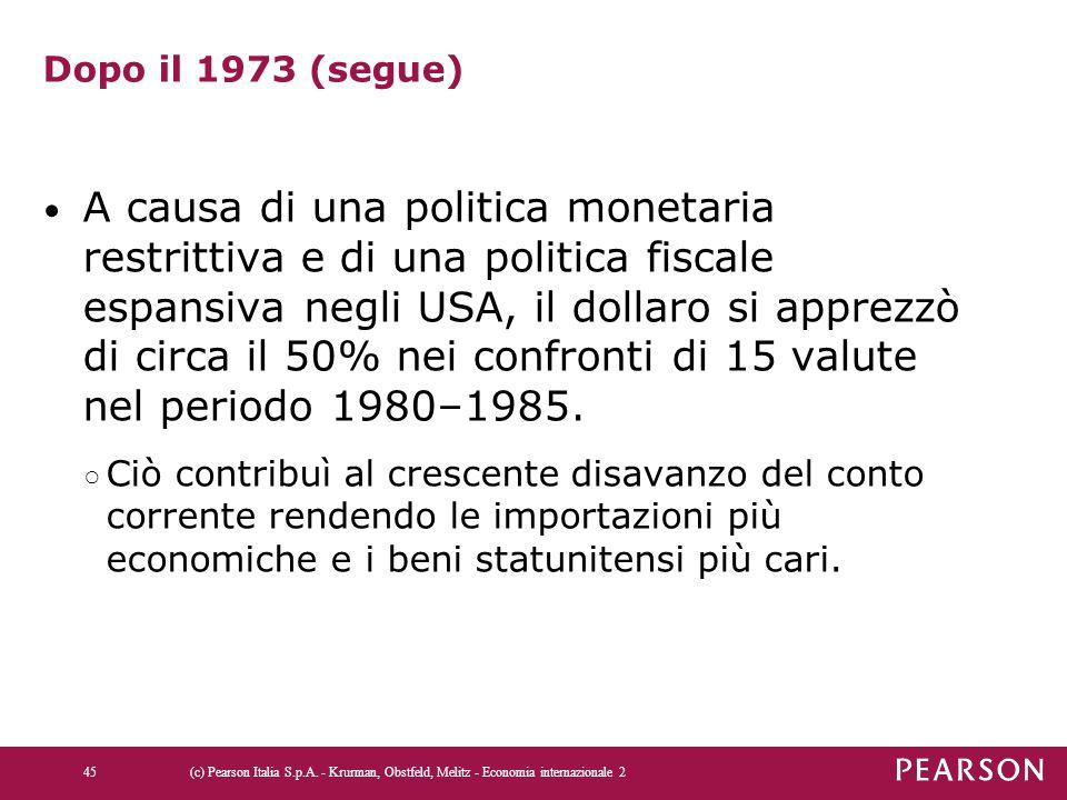 Dopo il 1973 (segue) A causa di una politica monetaria restrittiva e di una politica fiscale espansiva negli USA, il dollaro si apprezzò di circa il 5