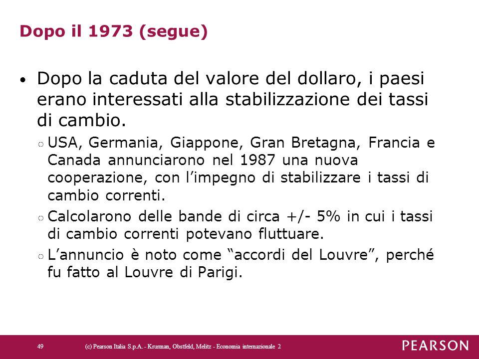 Dopo il 1973 (segue) Dopo la caduta del valore del dollaro, i paesi erano interessati alla stabilizzazione dei tassi di cambio. ○ USA, Germania, Giapp