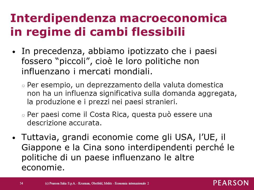 """Interdipendenza macroeconomica in regime di cambi flessibili In precedenza, abbiamo ipotizzato che i paesi fossero """"piccoli"""", cioè le loro politiche n"""