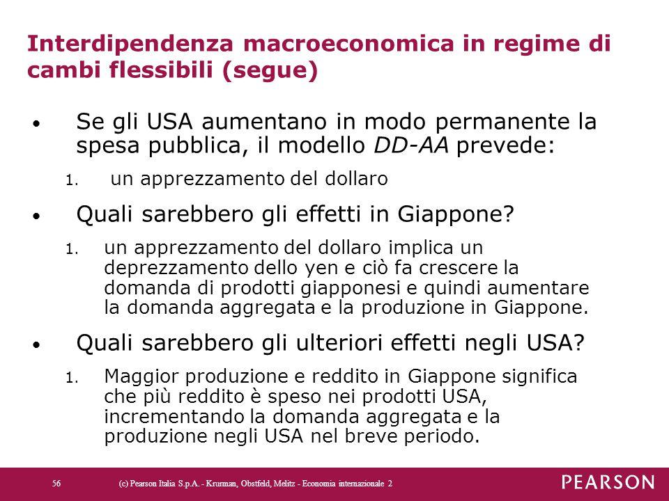 Interdipendenza macroeconomica in regime di cambi flessibili (segue) Se gli USA aumentano in modo permanente la spesa pubblica, il modello DD-AA preve