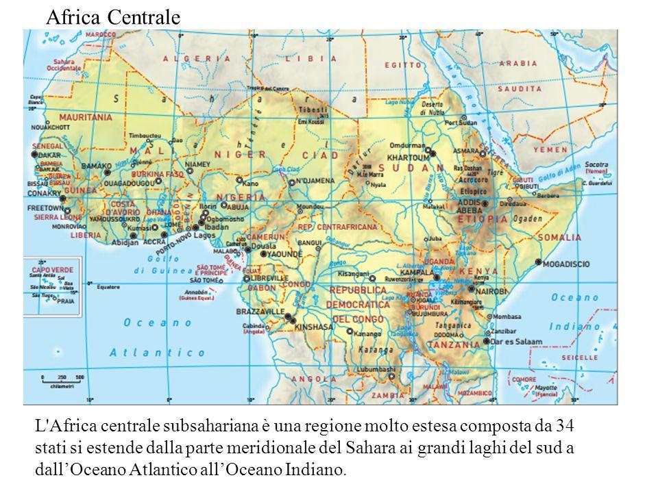 L'Africa centrale subsahariana è una regione molto estesa composta da 34 stati si estende dalla parte meridionale del Sahara ai grandi laghi del sud a