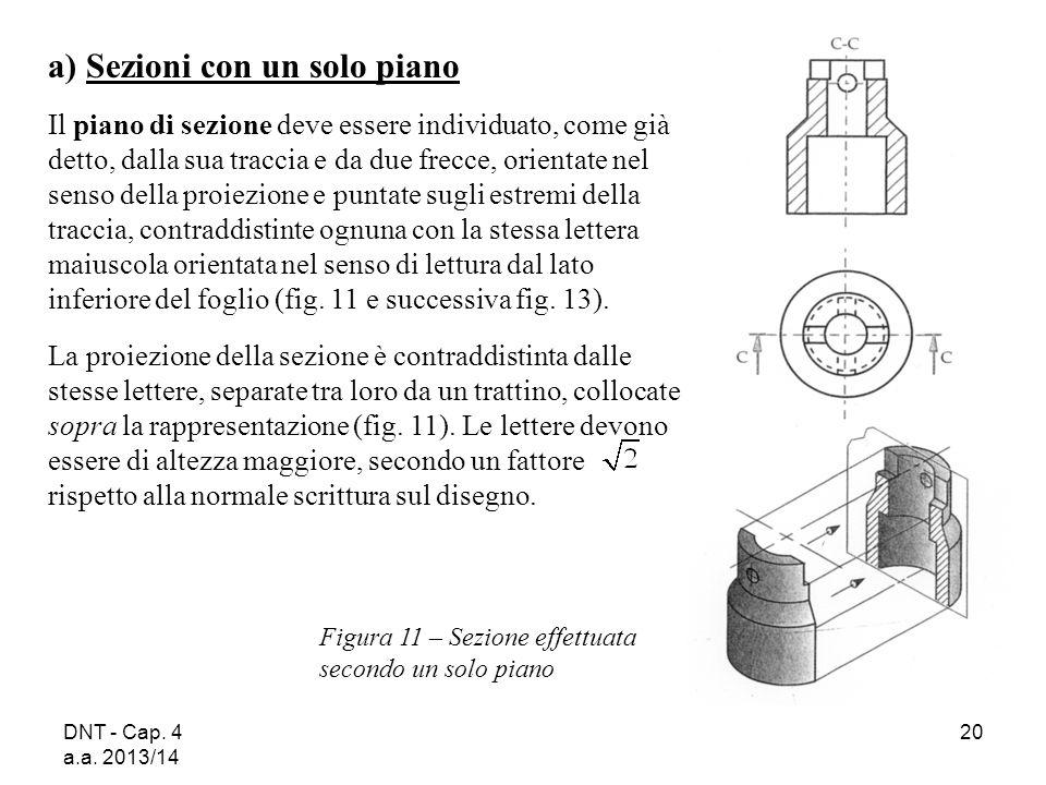 DNT - Cap. 4 a.a. 2013/14 20 a) Sezioni con un solo piano Il piano di sezione deve essere individuato, come già detto, dalla sua traccia e da due frec