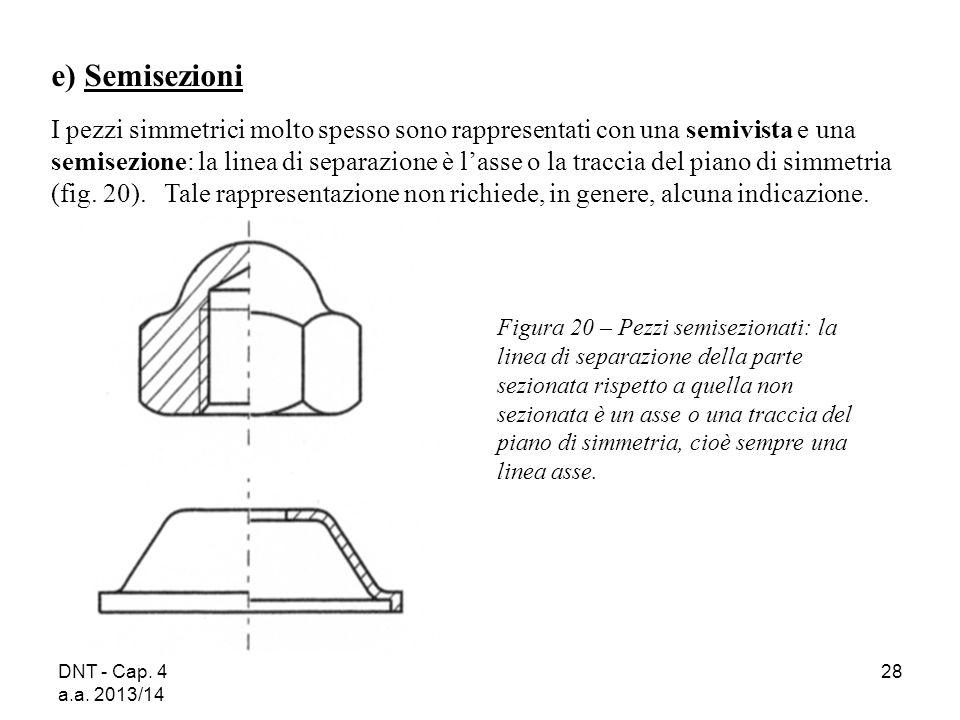DNT - Cap. 4 a.a. 2013/14 28 Figura 20 – Pezzi semisezionati: la linea di separazione della parte sezionata rispetto a quella non sezionata è un asse