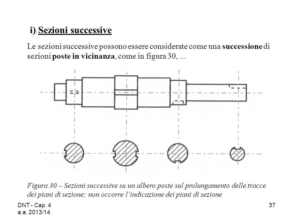 DNT - Cap. 4 a.a. 2013/14 37 Figura 30 – Sezioni successive su un albero poste sul prolungamento delle tracce dei piani di sezione; non occorre l'indi