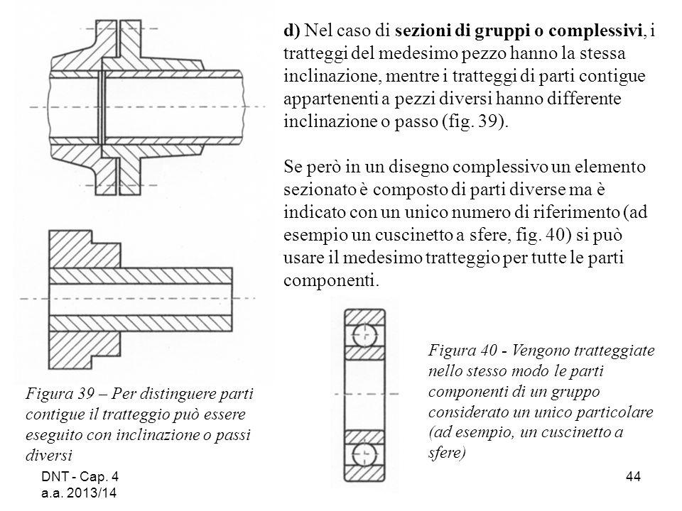 DNT - Cap. 4 a.a. 2013/14 44 d) Nel caso di sezioni di gruppi o complessivi, i tratteggi del medesimo pezzo hanno la stessa inclinazione, mentre i tra