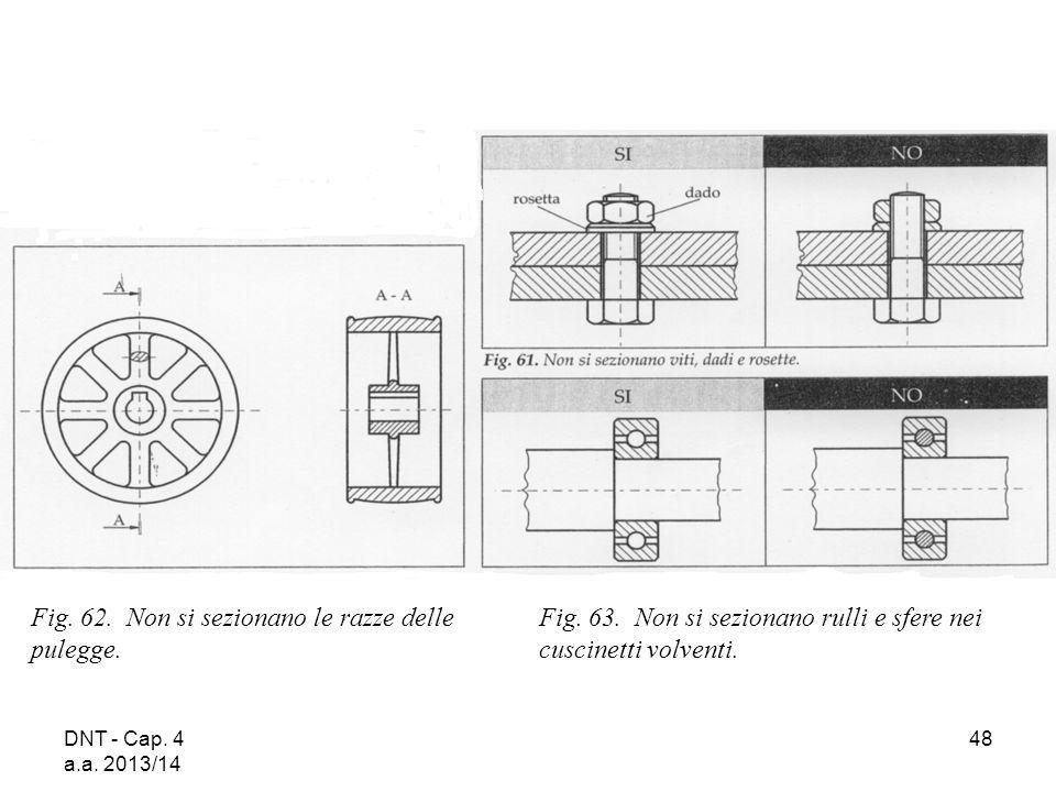 DNT - Cap. 4 a.a. 2013/14 48 Fig. 62. Non si sezionano le razze delle pulegge. Fig. 63. Non si sezionano rulli e sfere nei cuscinetti volventi.