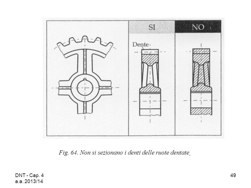 DNT - Cap. 4 a.a. 2013/14 49 Fig. 64. Non si sezionano i denti delle ruote dentate