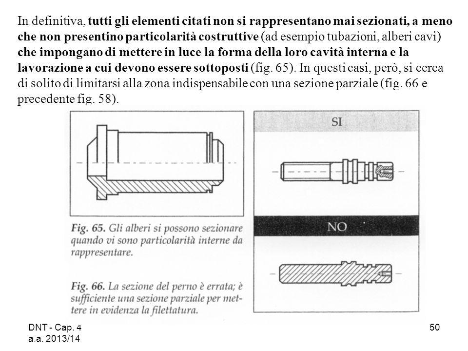 DNT - Cap. 4 a.a. 2013/14 50 In definitiva, tutti gli elementi citati non si rappresentano mai sezionati, a meno che non presentino particolarità cost