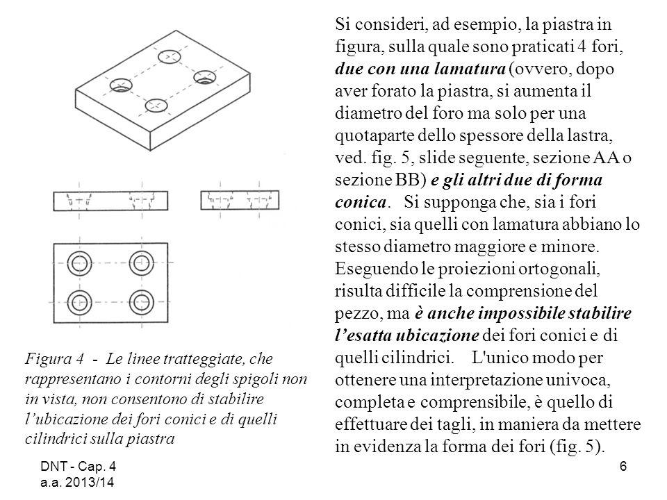DNT - Cap. 4 a.a. 2013/14 6 Figura 4 - Le linee tratteggiate, che rappresentano i contorni degli spigoli non in vista, non consentono di stabilire l'u