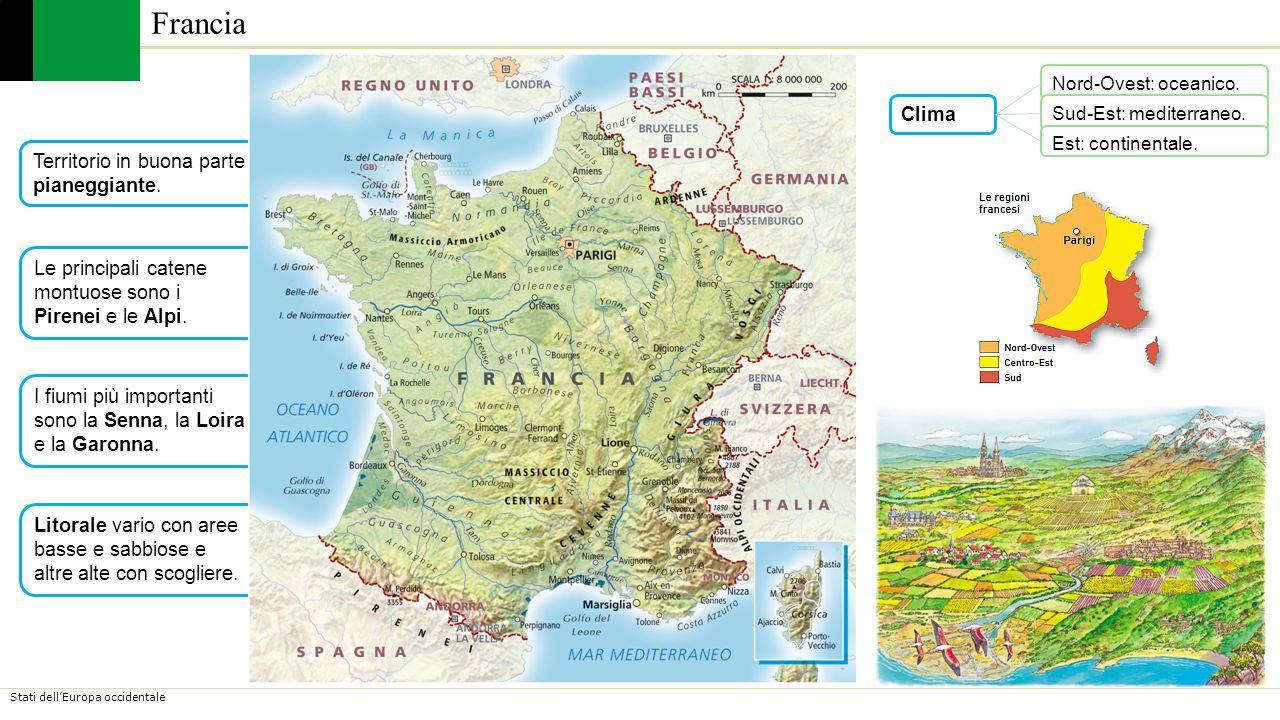 Stati dell'Europa occidentale La Francia ha due paesaggi montuosi: i sistemi alpini al sud (Alpi e Pirenei); i rilievi antichi al centro e nell'est (Vosgi, Giura e Massiccio Centrale).