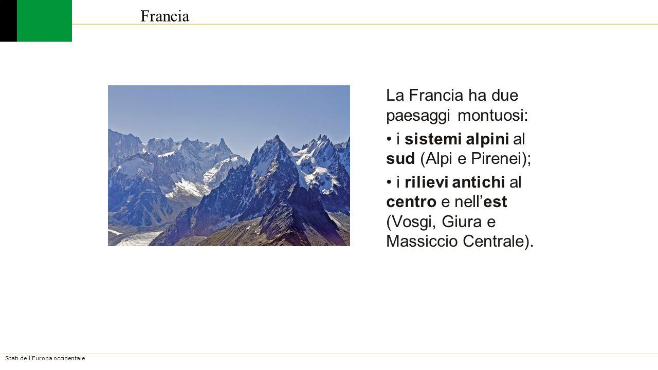 Stati dell'Europa occidentale Tutta la Francia nord e ovest è occupata dal Bassopiano Francese, immensa area pianeggiante.