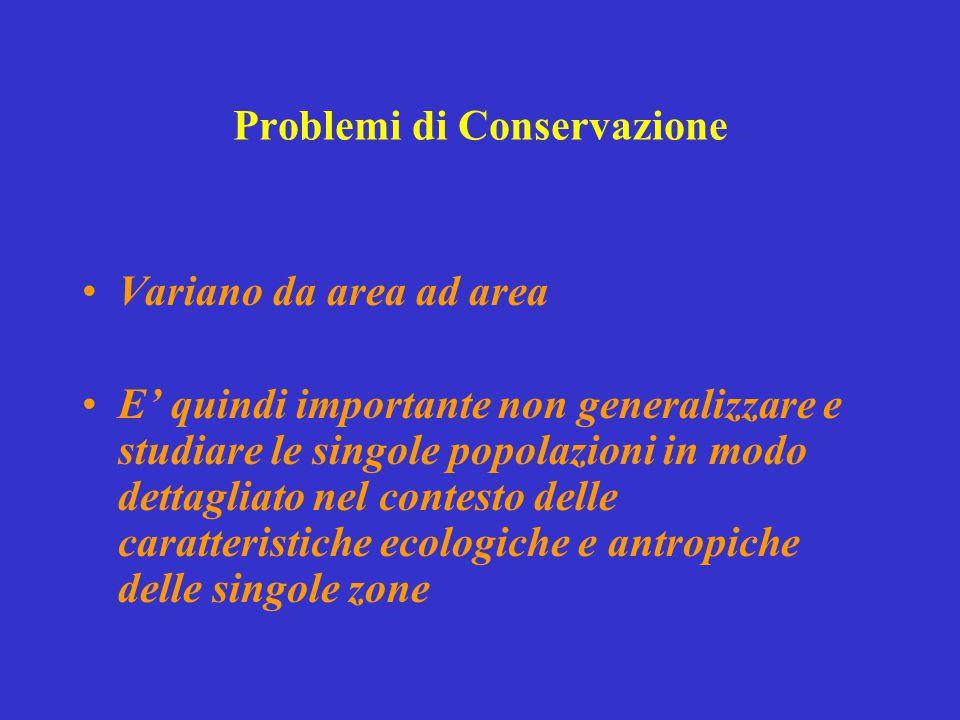 Problemi di Conservazione Variano da area ad area E' quindi importante non generalizzare e studiare le singole popolazioni in modo dettagliato nel con