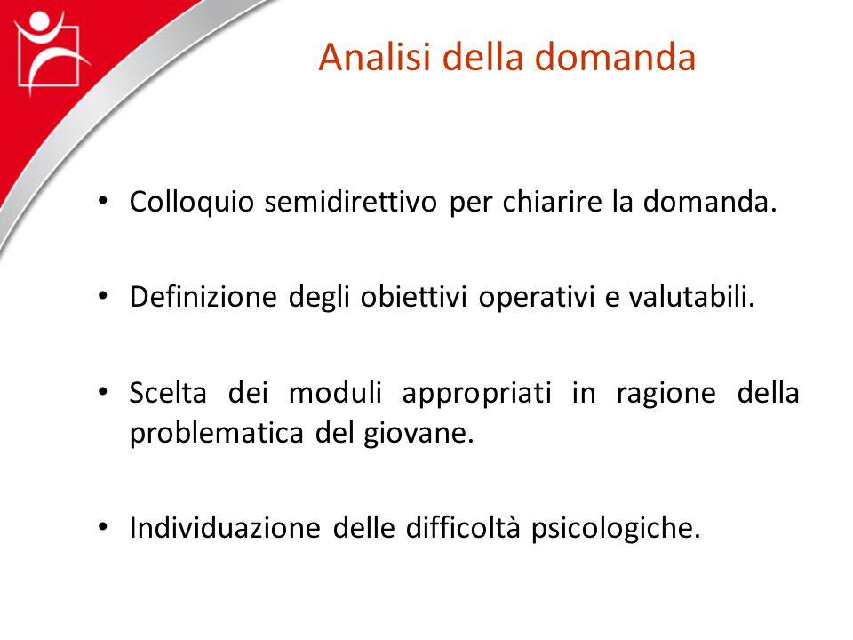 Analisi della domanda Colloquio semidirettivo per chiarire la domanda.
