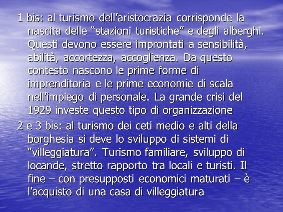 """1 bis: al turismo dell'aristocrazia corrisponde la nascita delle """"stazioni turistiche"""" e degli alberghi. Questi devono essere improntati a sensibilità"""