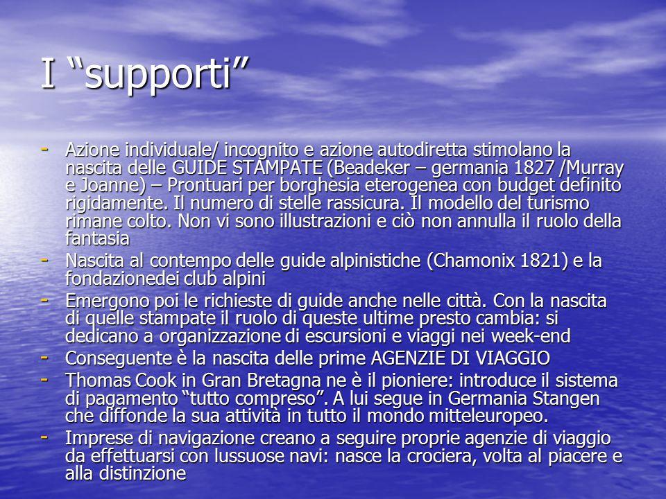 I supporti - Azione individuale/ incognito e azione autodiretta stimolano la nascita delle GUIDE STAMPATE (Beadeker – germania 1827 /Murray e Joanne) – Prontuari per borghesia eterogenea con budget definito rigidamente.