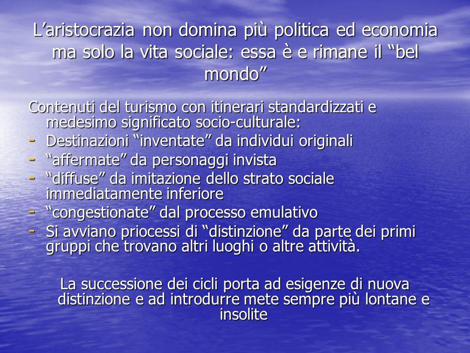 """L'aristocrazia non domina più politica ed economia ma solo la vita sociale: essa è e rimane il """"bel mondo"""" Contenuti del turismo con itinerari standar"""