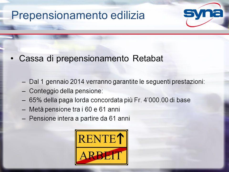 Prepensionamento edilizia Cassa di prepensionamento Retabat –Dal 1 gennaio 2014 verranno garantite le seguenti prestazioni: –Conteggio della pensione: