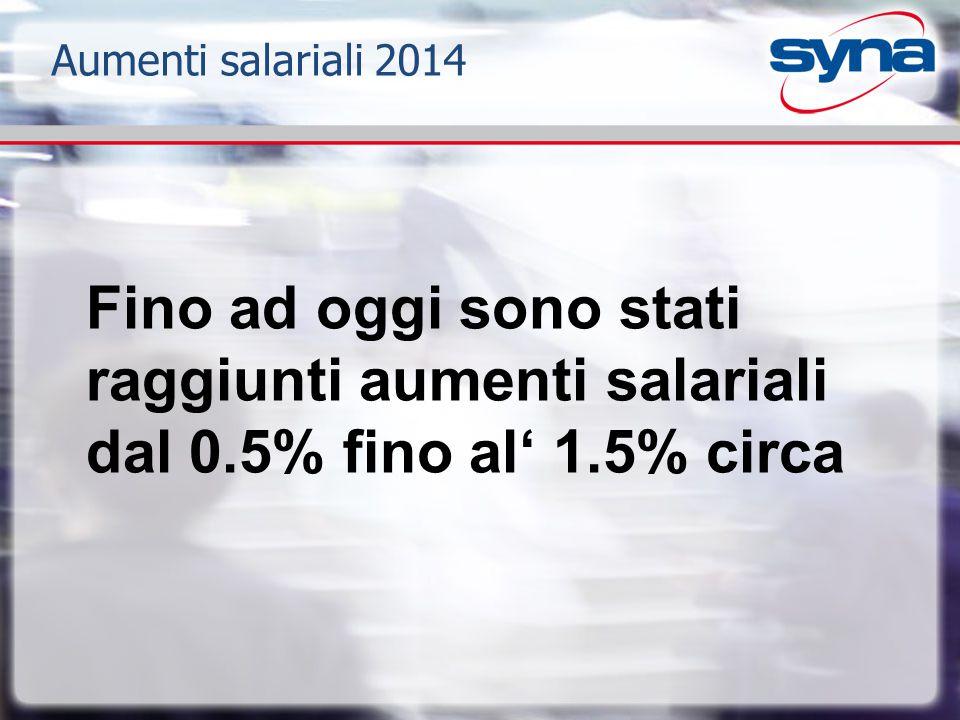 Aumenti salariali 2014 Fino ad oggi sono stati raggiunti aumenti salariali dal 0.5% fino al' 1.5% circa