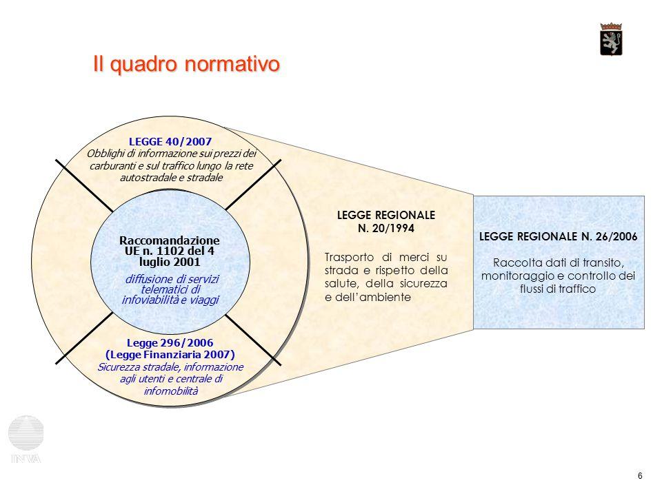 7 Il quadro normativo regionale Legge regionale del 20 novembre 2006 n.