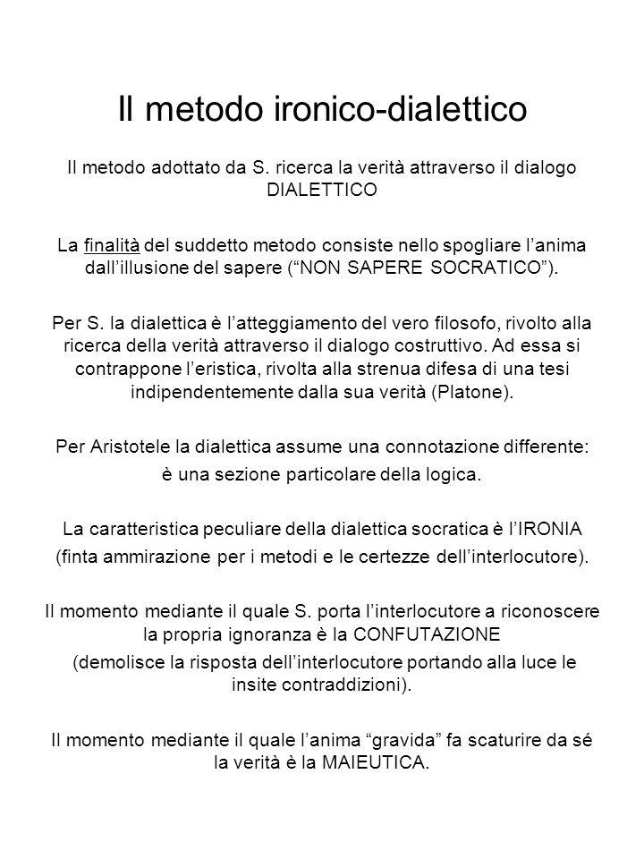 Il metodo ironico-dialettico Il metodo adottato da S.