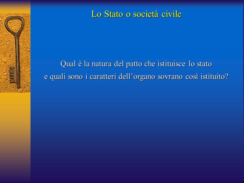 Qual è la natura del patto che istituisce lo stato e quali sono i caratteri dell'organo sovrano così istituito?