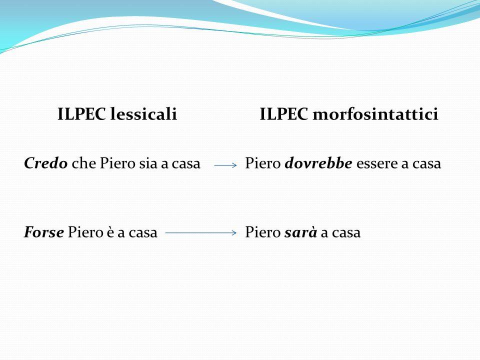ILPEC lessicali Credo che Piero sia a casa Forse Piero è a casa ILPEC morfosintattici Piero dovrebbe essere a casa Piero sarà a casa