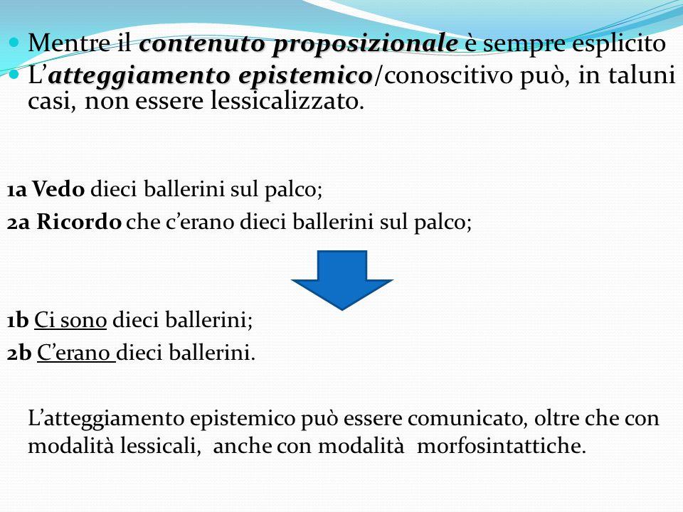 ILPEC lessicali non verbali (1b) La funzione ILPEC viene svolta nel nostro corpus non solo dagli ILPEC verbali, ma anche dai seguenti ILPEC non verbali: le strutture come se + congiuntivo e simili e quasi a + infinito e simili (318 ricorrenze); l'avverbio forse (242); altri lessemi, come gli aggettivi incredibile, sconosciuto, noto, impercettibile ecc.