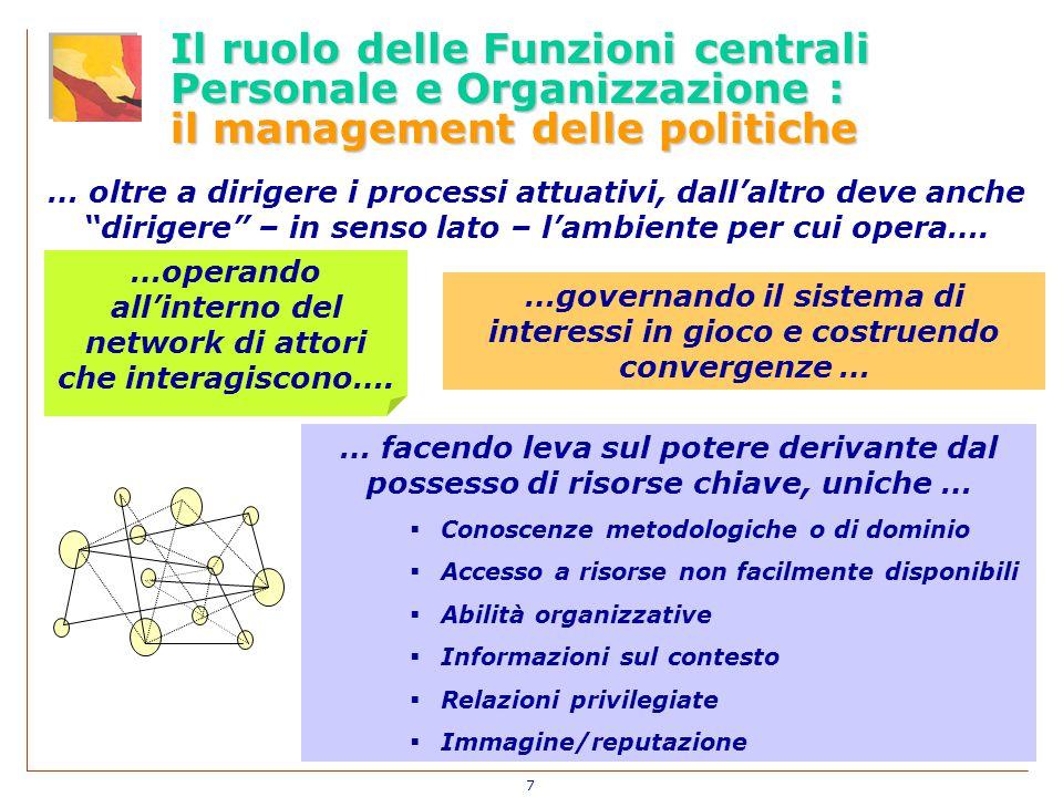 7 Il ruolo delle Funzioni centrali Personale e Organizzazione : il management delle politiche …operando all'interno del network di attori che interagiscono….