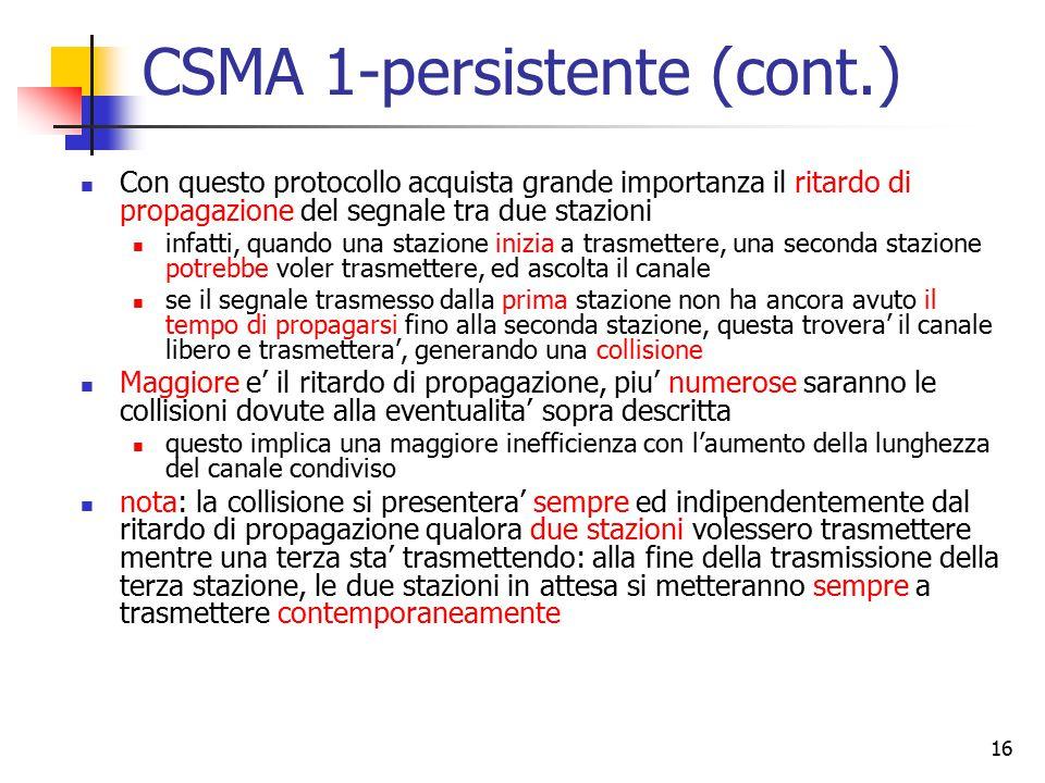 16 CSMA 1-persistente (cont.) Con questo protocollo acquista grande importanza il ritardo di propagazione del segnale tra due stazioni infatti, quando