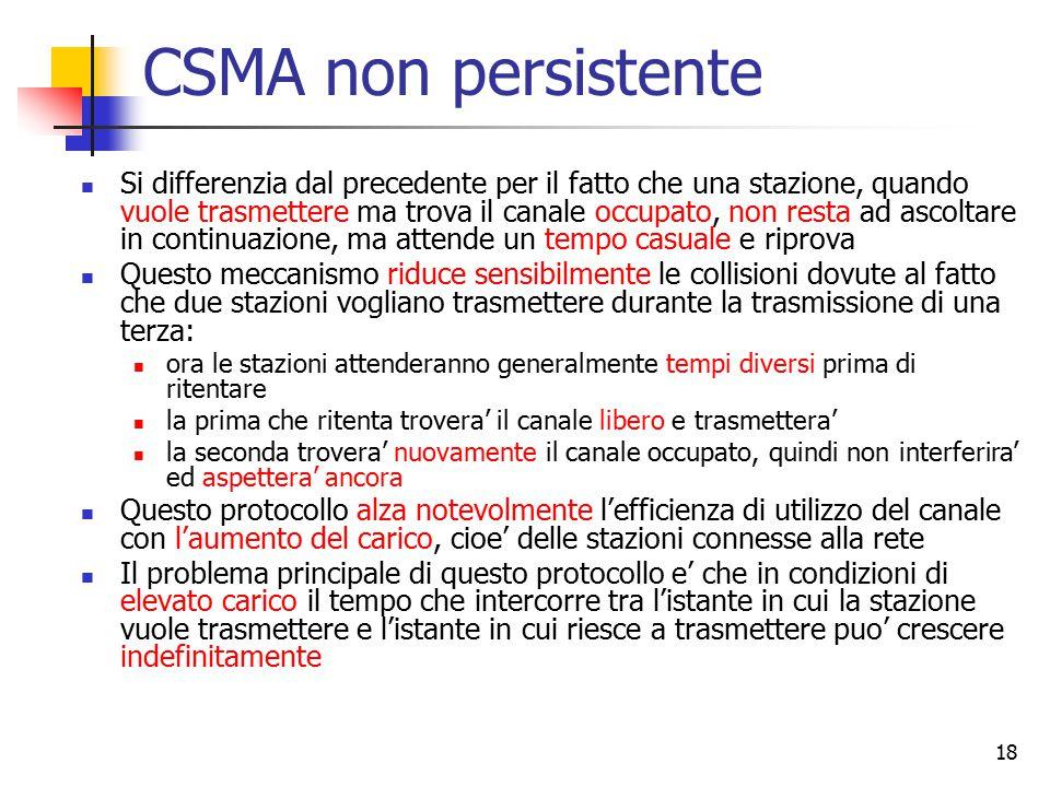 18 CSMA non persistente Si differenzia dal precedente per il fatto che una stazione, quando vuole trasmettere ma trova il canale occupato, non resta a