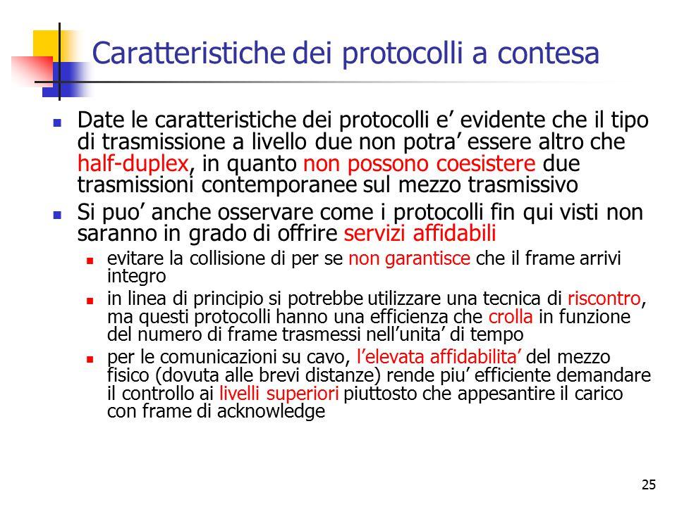 25 Caratteristiche dei protocolli a contesa Date le caratteristiche dei protocolli e' evidente che il tipo di trasmissione a livello due non potra' es