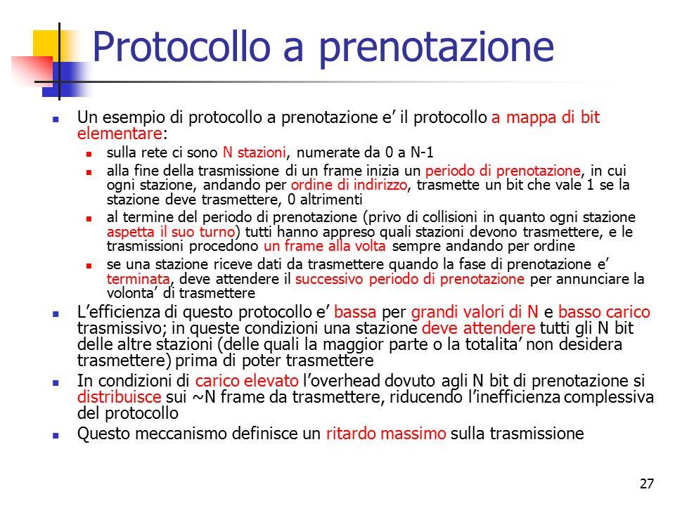 27 Protocollo a prenotazione Un esempio di protocollo a prenotazione e' il protocollo a mappa di bit elementare: sulla rete ci sono N stazioni, numera