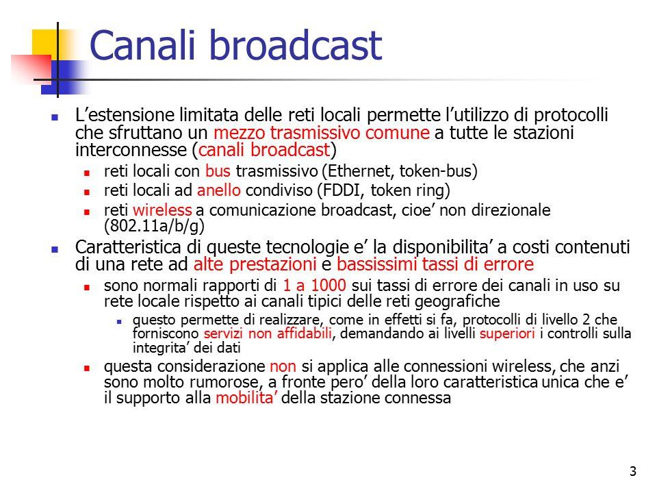 3 Canali broadcast L'estensione limitata delle reti locali permette l'utilizzo di protocolli che sfruttano un mezzo trasmissivo comune a tutte le staz