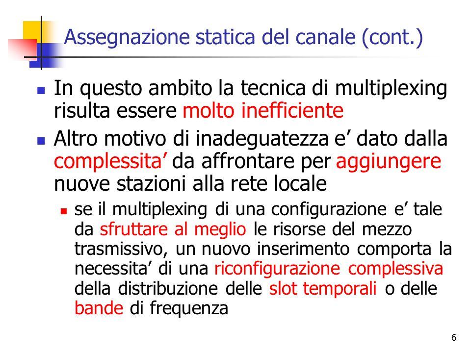 6 Assegnazione statica del canale (cont.) In questo ambito la tecnica di multiplexing risulta essere molto inefficiente Altro motivo di inadeguatezza