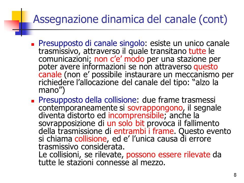 8 Assegnazione dinamica del canale (cont) Presupposto di canale singolo: esiste un unico canale trasmissivo, attraverso il quale transitano tutte le c