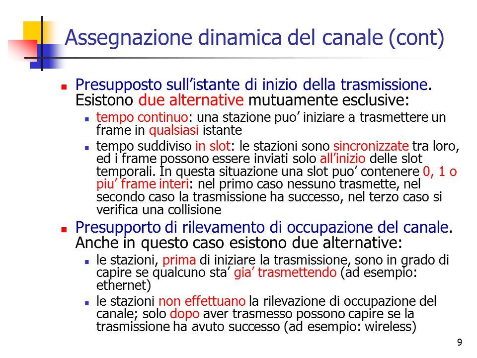 9 Assegnazione dinamica del canale (cont) Presupposto sull'istante di inizio della trasmissione. Esistono due alternative mutuamente esclusive: tempo